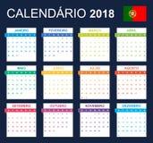 Portugese Kalender voor 2018 Planner, agenda of agendamalplaatje Het begin van de week op Maandag Stock Afbeelding