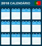 Portugese Kalender voor 2018 Planner, agenda of agendamalplaatje Het begin van de week op Maandag Royalty-vrije Stock Foto