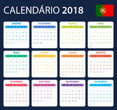 Portugese Kalender voor 2018 Planner, agenda of agendamalplaatje Het begin van de week op Maandag Royalty-vrije Stock Fotografie