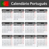 Portugese Kalender voor 2018 Planner, agenda of agendamalplaatje Het begin van de week op Maandag Royalty-vrije Stock Afbeeldingen