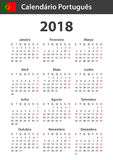 Portugese Kalender voor 2018 Planner, agenda of agendamalplaatje Het begin van de week op Maandag Stock Afbeeldingen