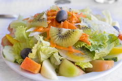 Portugese mixed salad on a plate Stock Photos