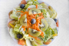 Portugese mixed salad on a plate Royalty Free Stock Image