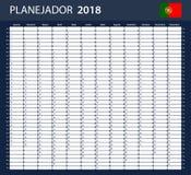 Portugese Ontwerpersspatie voor 2018 Planner, agenda of agendamalplaatje Stock Afbeeldingen