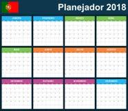 Portugese Ontwerpersspatie voor 2018 Planner, agenda of agendamalplaatje Het begin van de week op Maandag Stock Afbeelding