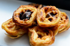 Portugese pastries. Pasteis de nata. Delicious home made cuisine. Typical for Lisbon region Stock Images