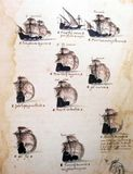 Portugese sailing ships on 16th century manuscript Royalty Free Stock Photography