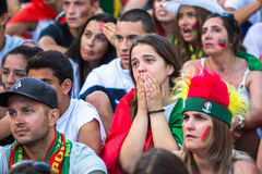 Portugese ventilators tijdens vertaling van de voetbalwedstrijd Portugal - def. van Frankrijk van het Europese kampioenschap 2016 Royalty-vrije Stock Foto's