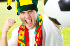 Portugese voetbalventilator Stock Afbeeldingen