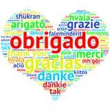 Portugiese: Obrigado, Herz geformter Wortwolke Dank, auf Weiß Stockfotografie