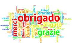 Portugiese Obrigado, offene Wort-Wolke, auf Weiß Lizenzfreie Stockbilder