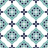 Portugiesische azulejo Fliesen Blaue und weiße herrliche nahtlose Muster Lizenzfreie Stockfotografie