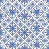Portugiesische azulejo Fliesen Blaues und weißes herrliches nahtloses Muster Stockbilder