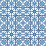 Portugiesische azulejo Fliesen Blaues und weißes herrliches nahtloses patte Lizenzfreie Stockfotografie