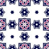 Portugiesische azulejo Fliesen Nahtlose Muster Lizenzfreie Stockbilder