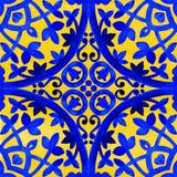 Portugiesische azulejo Fliesen Nahtloses Muster des Aquarells Stockfotos