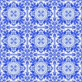 Portugiesische azulejo Fliesen Nahtloses Muster des Aquarells Stockbild