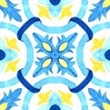 Portugiesische azulejo Fliesen Nahtloses Muster des Aquarells Lizenzfreie Stockfotos