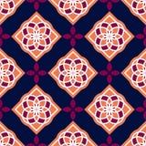 Portugiesische azulejo Fliesen Rote und weiße herrliche nahtlose Muster Stockbild
