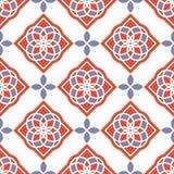 Portugiesische azulejo Fliesen Rote und weiße herrliche nahtlose Muster Stockfotografie