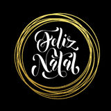 Portugiesische goldene Funkelndekoration der frohe Weihnacht-Feliz Natal-Grußkarte Lizenzfreie Stockfotos