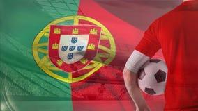 Portugiesisches fahnenschwenkendes vor Stadion stock abbildung