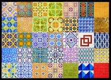 Portugis belägger med tegel patchworken, den Retro geometriska modellen för collage, glasade handgjorda Azulejos, Portugal gatako arkivfoton