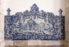 Portugisblått belägger med tegel Azulejos Sao Vicente de Fora Arkivbilder