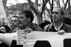 portugisen protesterar ungdommen Arkivbild
