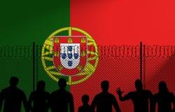 Portugisisk flagga bak det säkra staketet stock illustrationer
