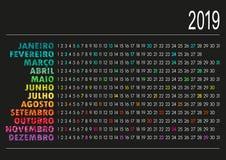 Portugisisk kalender 2019 Fotografering för Bildbyråer