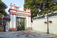Portugisisk kolonial arkitektur i det macau porslinet Arkivfoto