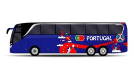 Portugisisk landslagbuss stock illustrationer