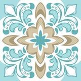Portugisisk modell för keramisk tegelplatta för azulejo stock illustrationer