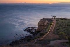 Portugisisk punkt på solnedgången arkivfoton