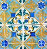 Portugisisk Retro geometrisk modell glasade tegelplattor, handgjorda Azulejos, Portugal gatakonst, abstrakt bakgrund arkivbild
