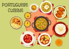 Portugisisk symbol för populär disk för kokkonst stock illustrationer