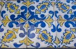 Portugisiska azulejotegelplattor Sömlös modell för vattenfärg royaltyfri foto