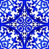 Portugisiska azulejotegelplattor Sömlös modell för vattenfärg Royaltyfria Foton