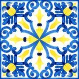 Portugisiska azulejotegelplattor Sömlös modell för vattenfärg royaltyfri fotografi