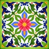 Portugisiska azulejotegelplattor Sömlösa modeller för vattenfärg, tryck royaltyfri illustrationer