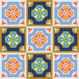 Portugisiska azulejotegelplattor Vit ursnyggt sömlöst för blått och stock illustrationer