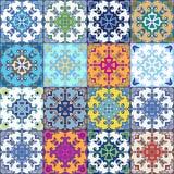 Portugisiska azulejotegelplattor Vit ursnyggt sömlöst för blått och Arkivbild