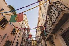Portugisiska flaggor, Lissabon, Portugal Arkivbild
