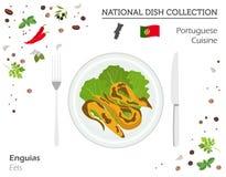 portugisiska såssnails för kokkonst Europeisk nationell maträttsamling Ålisolator vektor illustrationer