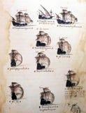 Portugisiska seglingskepp på det 16th århundrademanuskriptet Royaltyfri Fotografi
