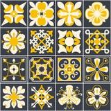 portugisiska tegelplattor Bakgrund Medelhavs- stil Flerfärgad design vektor illustrationer