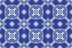 Portugués adornado tradicional y el brasileño teja azulejos en azul Ilustración del vector ilustración del vector