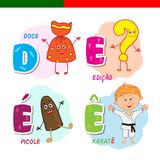 Portuguese alphabet. Candy, question mark, popsicle, karate. The letters and characters. Stock Photography