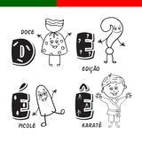 Portuguese alphabet. Candy, question mark, popsicle, karate. The letters and characters. Royalty Free Stock Images